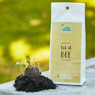 "5 Seedbombs in der Papiertüte ""Let it Bee"""
