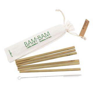 """Strohhalm """"Bam Bam"""" aus Bambus - 6er Pack inkl. Reinigungsbürste"""