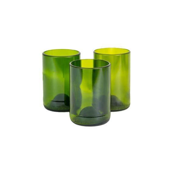 Gläser-Set M aus recycelten Weinflaschen - grün - Fair Trade - Bild 2