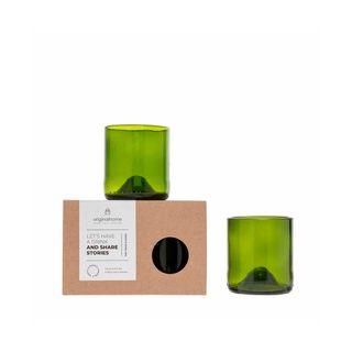 Gläser-Set S aus recycelten Weinflaschen - grün - Fair Trade