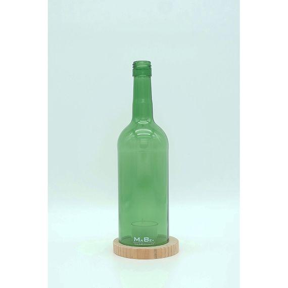 flaschenWINDLICHT aus recycelten Weinflaschen mit Untersetzer aus Holz - Bild 1