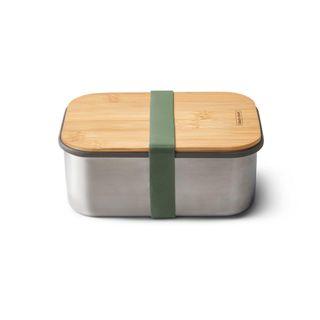 "Lunchbox ""Sandwich Box Large"" 1250ml aus Edelstahl mit Bambusdeckel Farbe: Olive"
