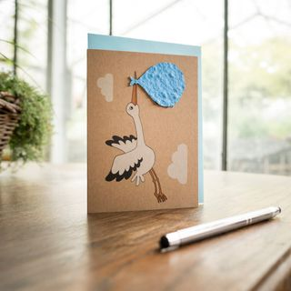 "Grußkarte - ""Der Storch - Junge"""