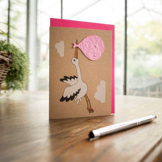 """Grußkarte - """"Der Storch - Mädchen"""" - Bild 1"""