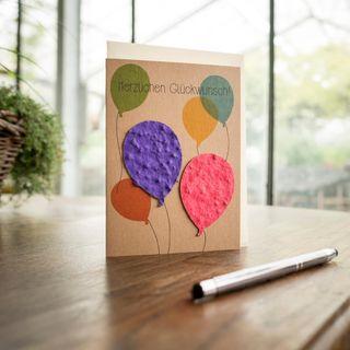 """Grußkarte - """"Herzlichen Glückwunsch Luftballons"""""""