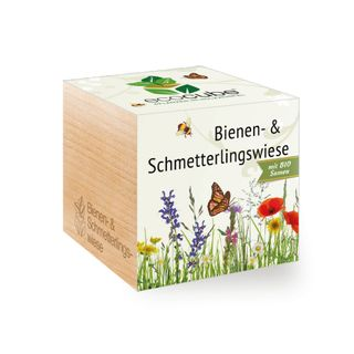 Bienen- & Schmetterlingswiese im Holzwürfel mit Bio-Samen
