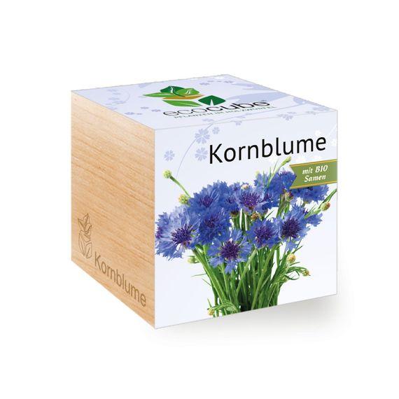 Kornblume im Holzwürfel mit Bio-Samen - Bild 1