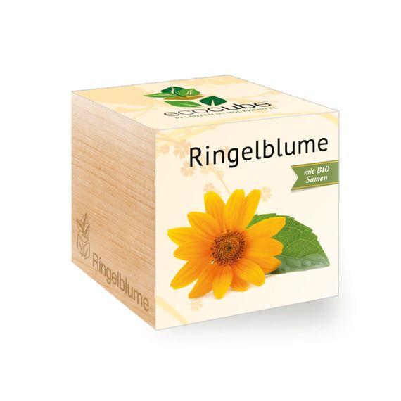 Ringelblume im Holzwürfel mit Bio-Samen - Bild 1