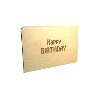 "Holz-Postkarte ""Happy Birthday"""